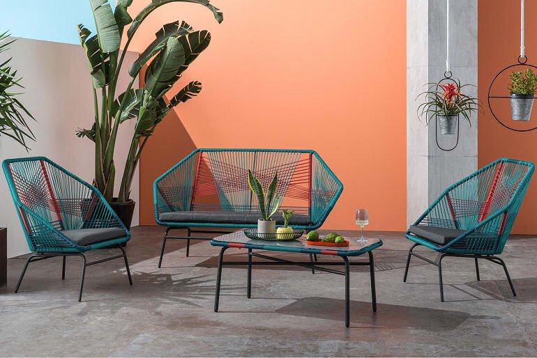 colourful garden outdoor lounge set