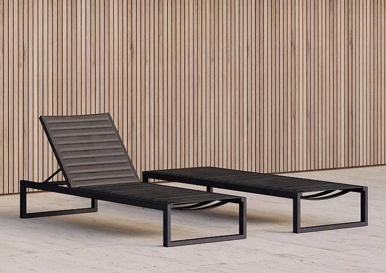Contemporary Eos Sun Lounger in black
