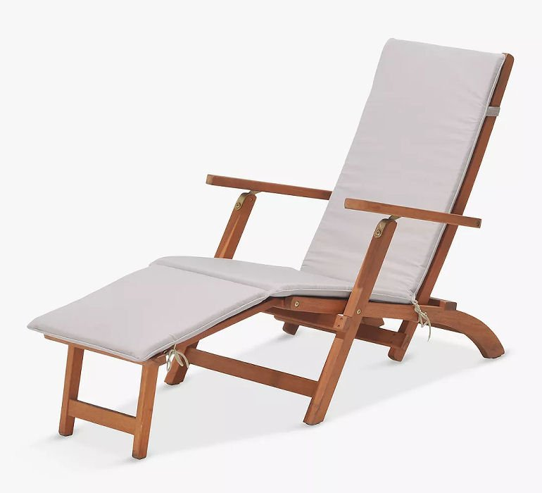 John Lewis Venice Steamer Sun Lounger in sustainable eucalyptus wood with cream cushions