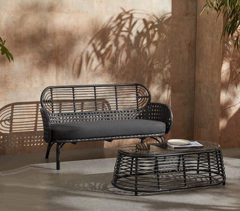 Swara black outdoor sofa 2 seater easycare polyrattan