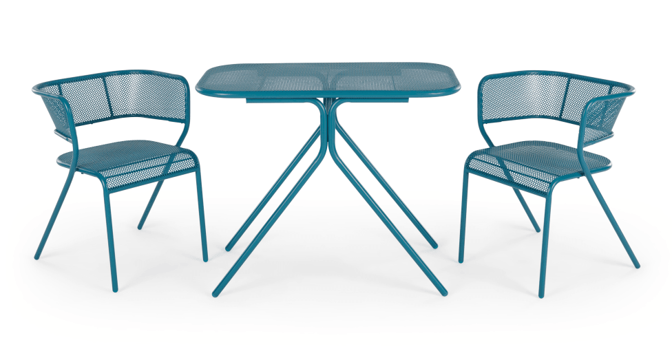 Tice colourful bistro set in teal for small spaces