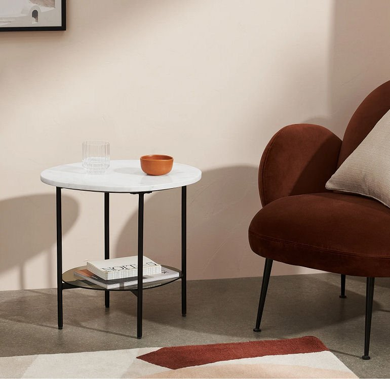 Tiziana marble side table with shelf