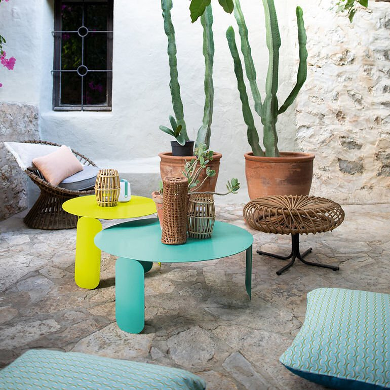 Fermob Bebop Low Outdoor Table in Lagoon Blue