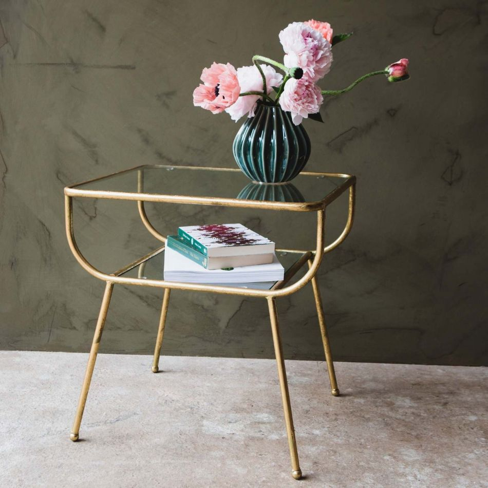 Eluminae gold and glass side table with storage shelf