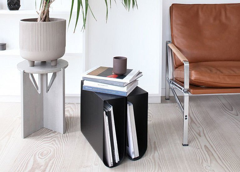 Curved Side Table with storage by Kristina Dam