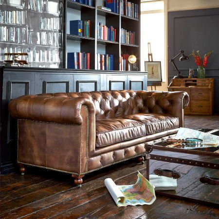 3-seater Leather Chesterfield Sofa by Barker & Stonehouse