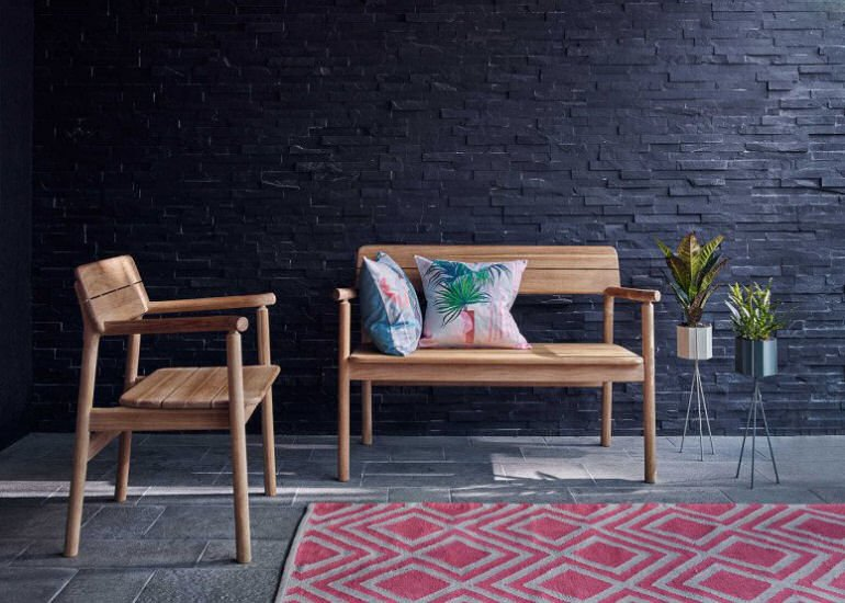 Heal's Tanso Teak Garden Bench for small spaces