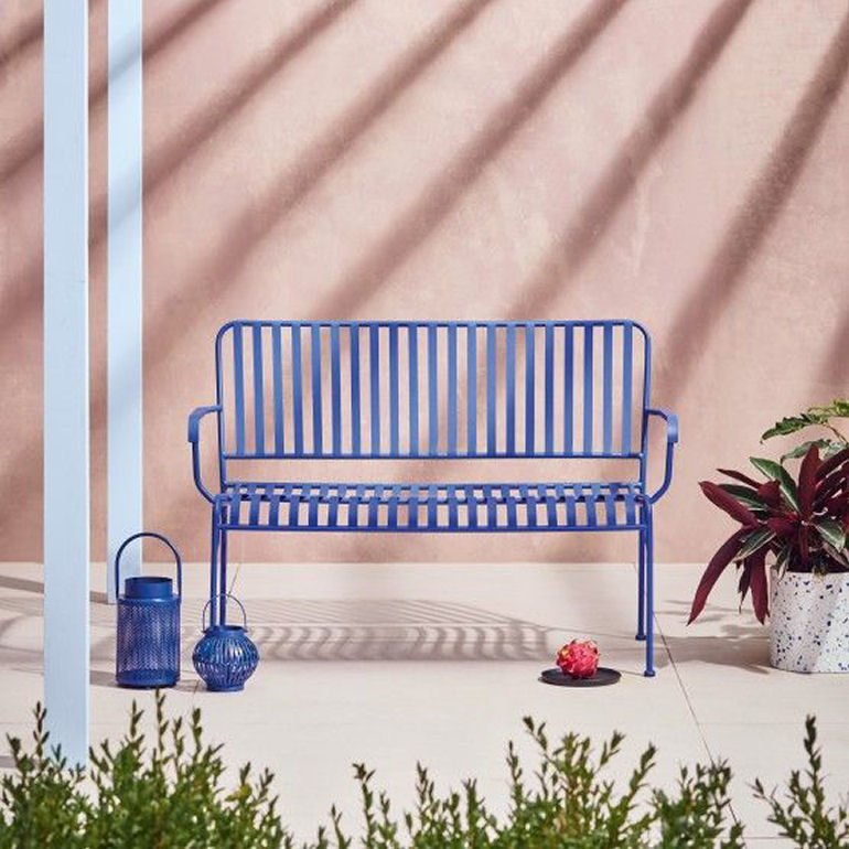 Indu compact garden bench for small spaces in cobalt blue metal