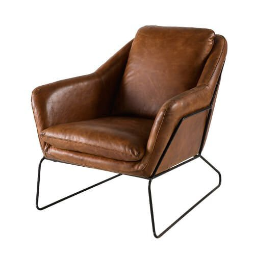 Brown leather armchair with metal frame by Maisons du Monde