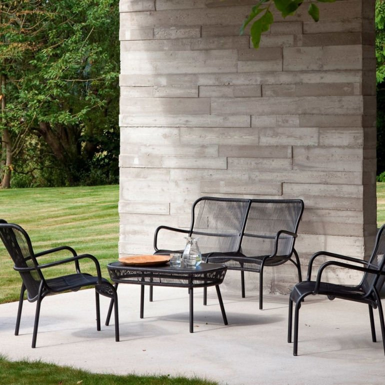 Vincent Sheppard Loop Outdoor Sofa in Black on contemporary patio