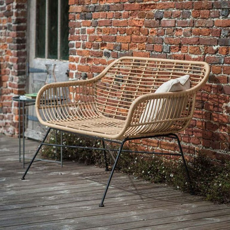 Hampstead Rattan Garden Bench for small outdoor spaces