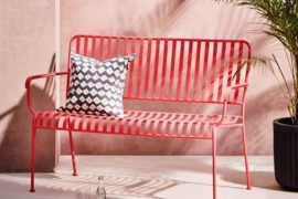 red metal Indu garden bench for small spaces