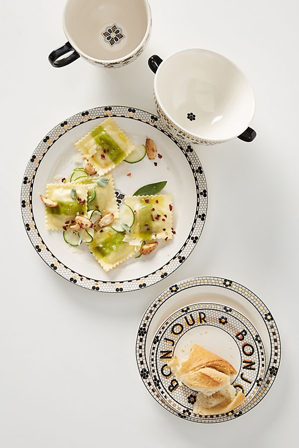 Anthropologie Bistro Collection of tableware with monochrome and gold designs