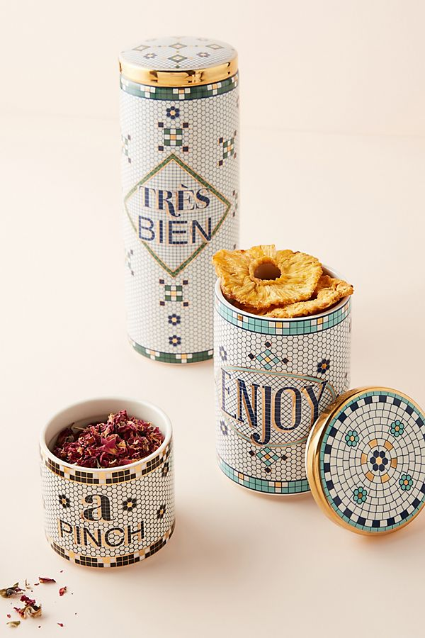 Anthropologie kitchenware storage canisters