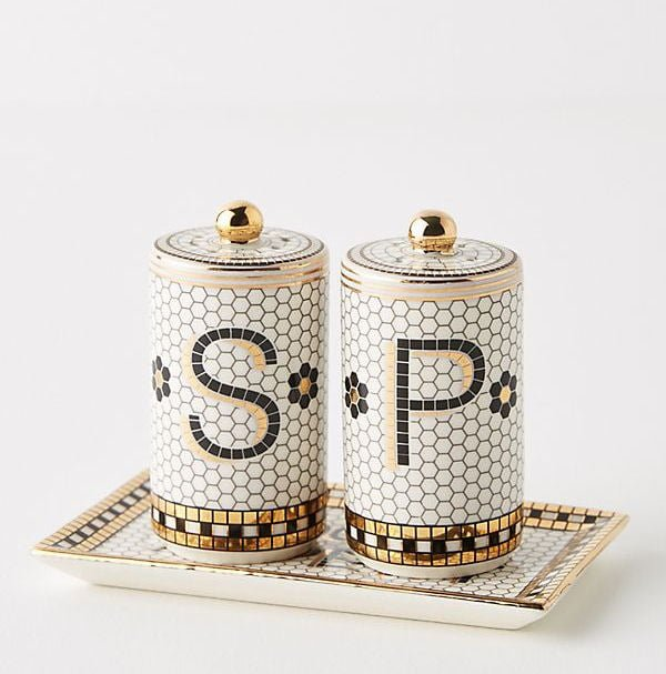 Bistro Salt and Pepper Shakers on tray