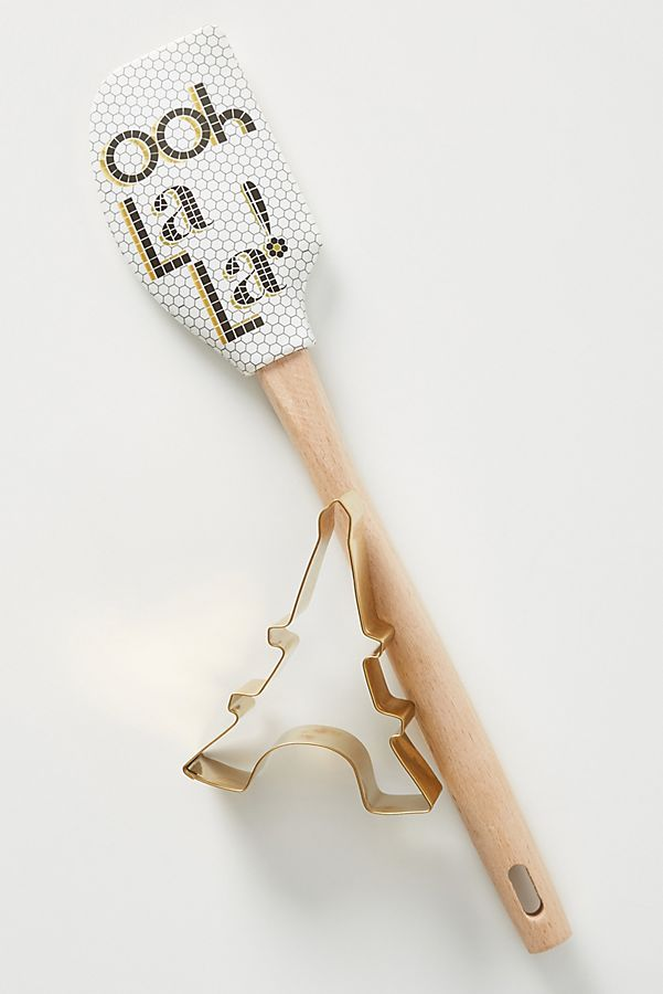 Anthropologie Bistro Ooh La La Spatula and Eiffel Tower cookie cutter