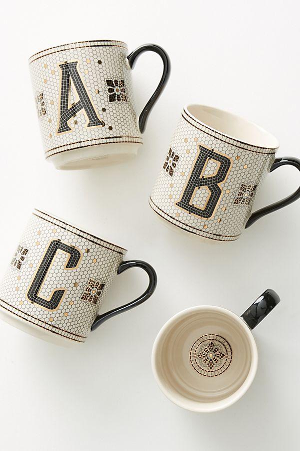 Anthropologie Bistro Margo Monogram Mugs