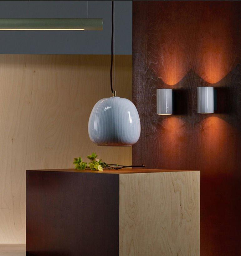 Hand & Eye Studio Gooseberry pendant and wall lights in white glazed ceramic