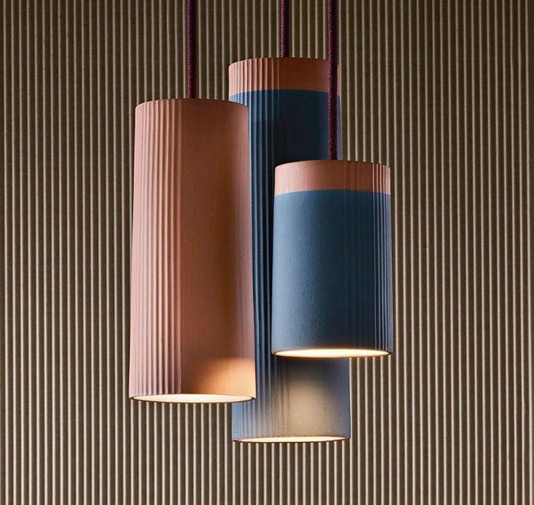 Rigatoni terracotta ceiling pendant lights