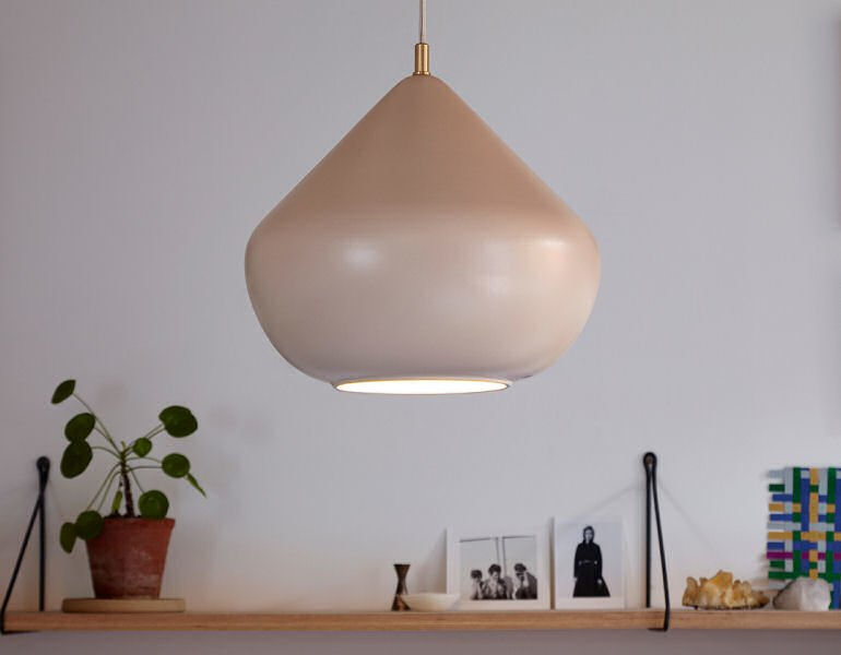 Chroma ceramic pendant light in Oyster - a blush pink colourway