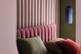 Deco Pink Velvet Bed and Eden oval brass mirror by Habitat