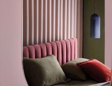 Deco Pink Velvet Bed and Eden oval brass mirror by Habitat