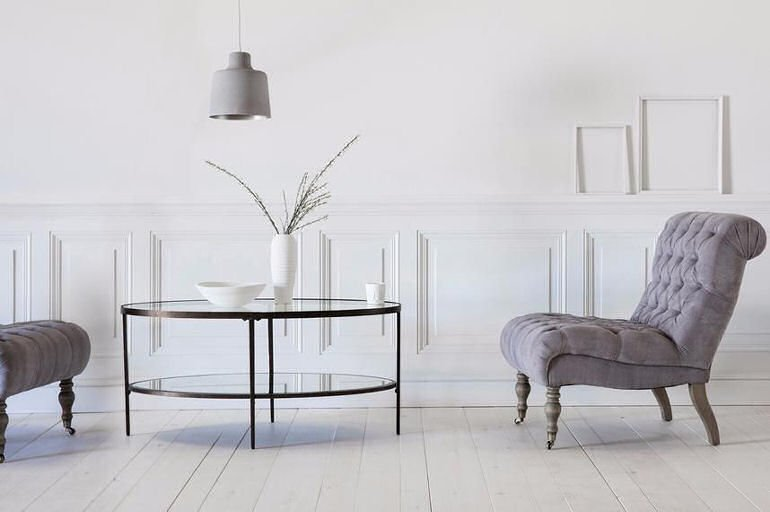 Aberdeen oval glass coffee table for small spaces