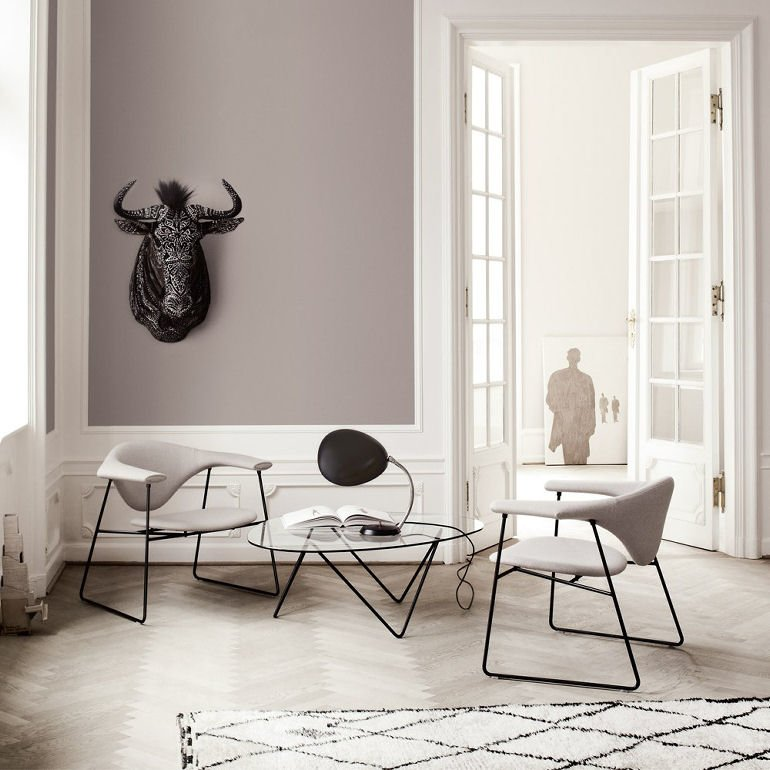 Gubi Pedrera Coffee Table and chairs in contemporary room