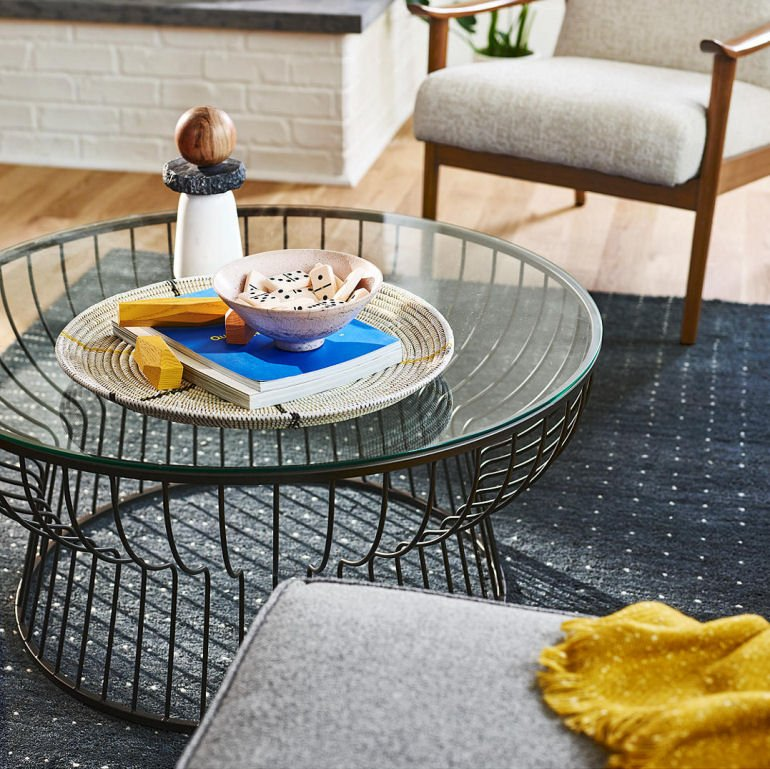 Pillar round glass coffee table for small spaces