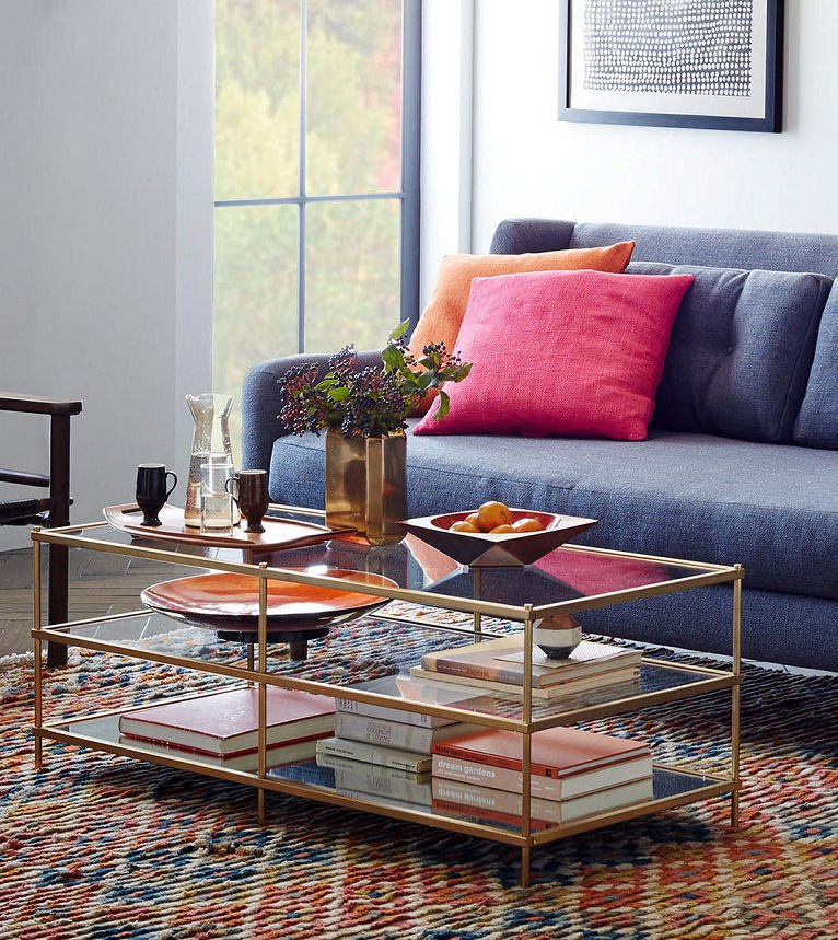 West Elm Terrace glass coffee table with shelves