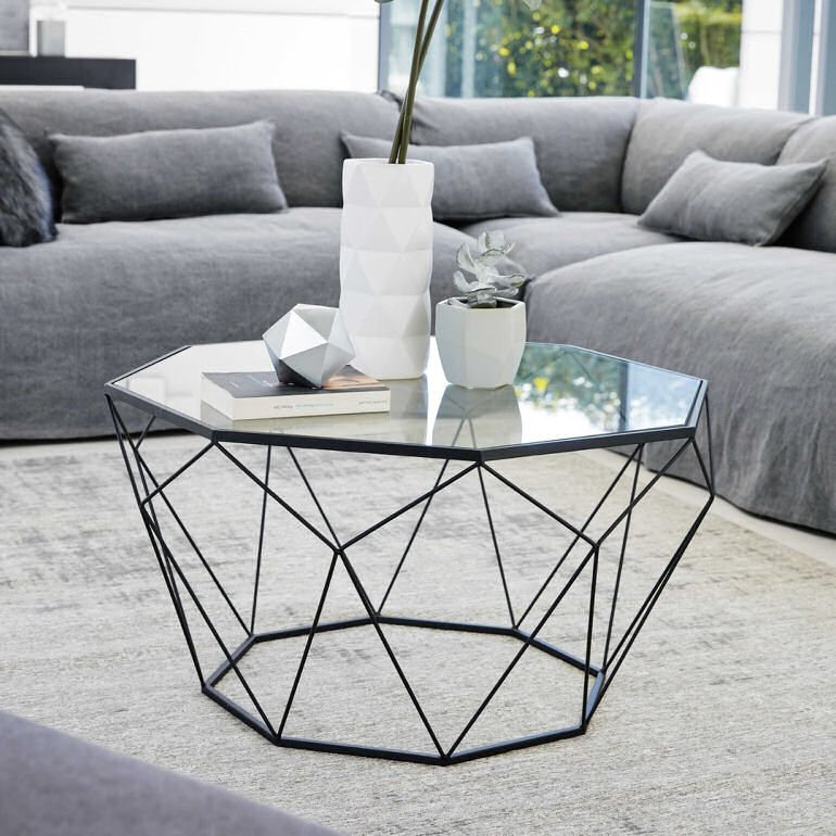 Geometric Blossom black wire and glass coffee table for small spaces