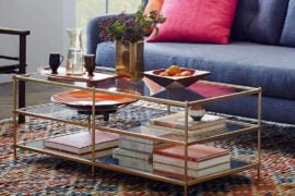 contemporary glass coffee table with shelves for small spaces