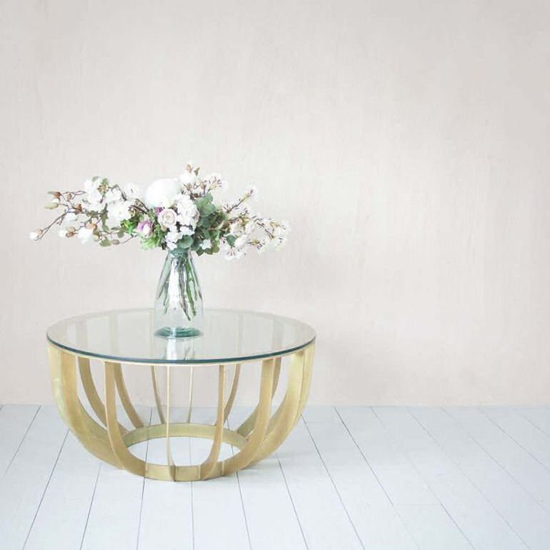 Graham and Green glass coffee table - Modica Round Coffeee Table in brass and glass