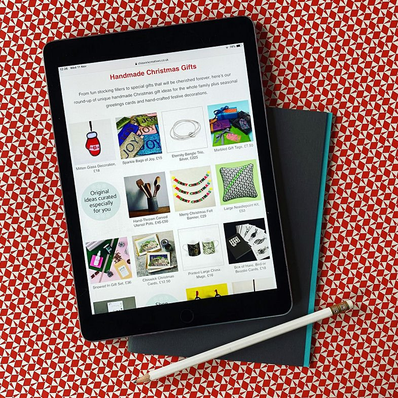 ipad showing Christmas Gift Guide 2020 by Chiswick Creatives - original handcrafted Christmas gift ideas