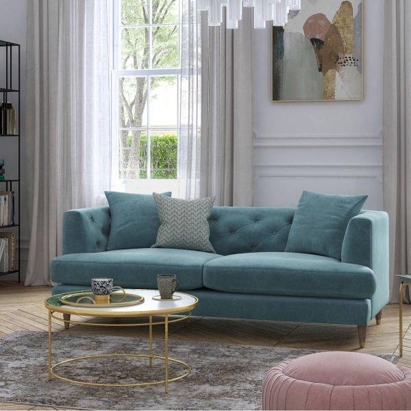 John Lewis Chester 3 Seater Velvet Sofa in Teal Blue