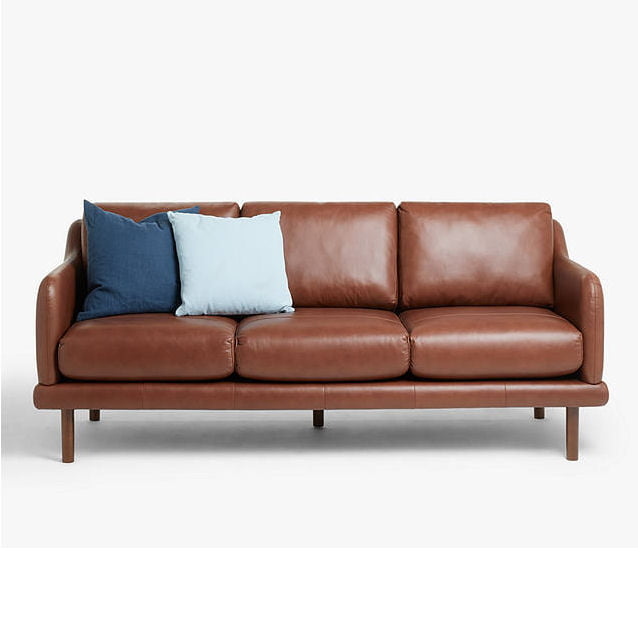 Sweep Large 3 seater leather sofa brown