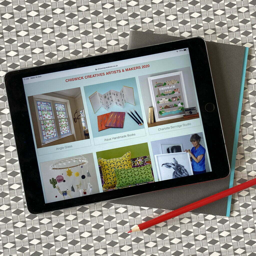 ipad showing the Chiswick Creatives online Makers' Marketplace - original and unique handmade gifts