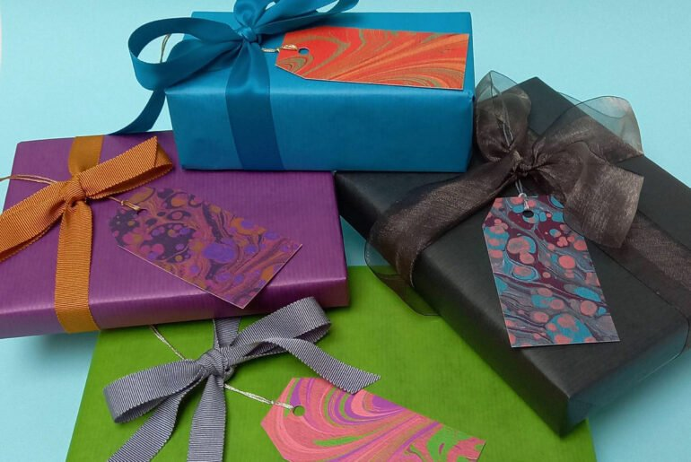 Colourful gifts with contemporary Marbled Gift Tags by Aqua Handmade Books