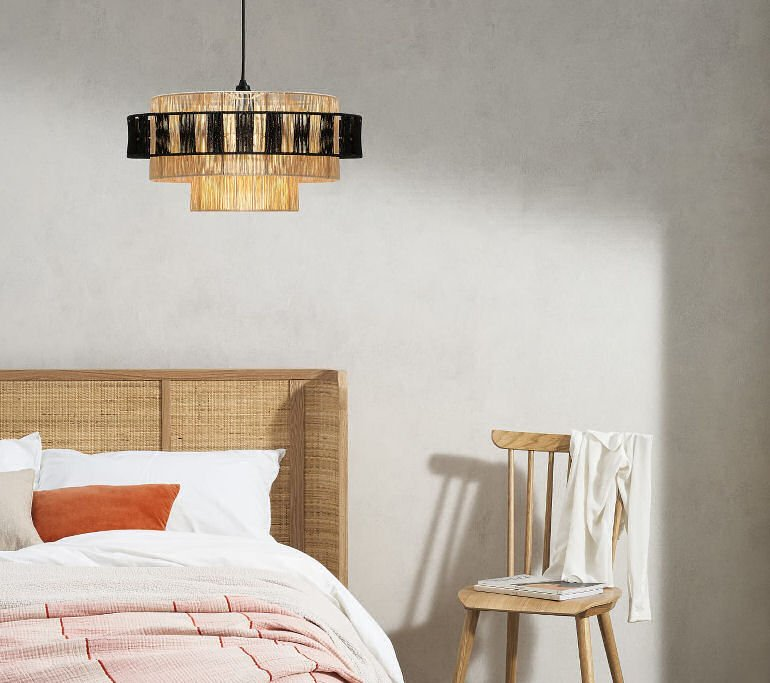 contemporary woven rattan lamp shade with black contrast
