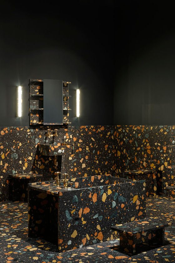 black Marmoreal terrazzo bathroom furniture by Max Lamb and Dzek