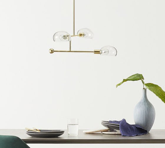 MADE.COM Tangle contemporary chandelier in brass and clear glass #contemporary lighting #contemporary chandelier #brasslighting