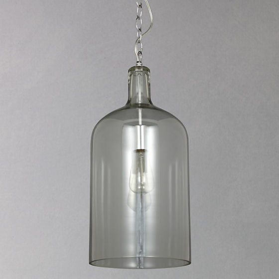 John Lewis Croft Collection grey glass pendant light with chrome chain