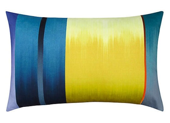 Yellow, red and blue striped cushion
