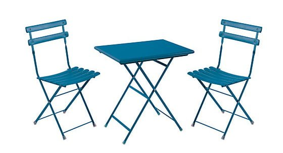Colourful blue bistro set for small gardens