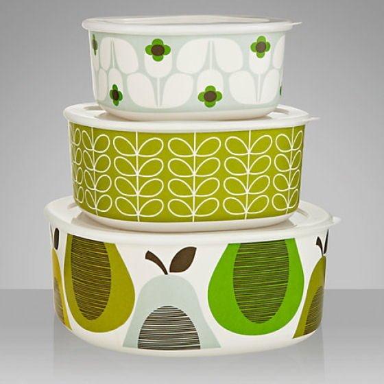 SEt of 3 Green and white Orla Kiely patterned lidded melamine picnic boxes