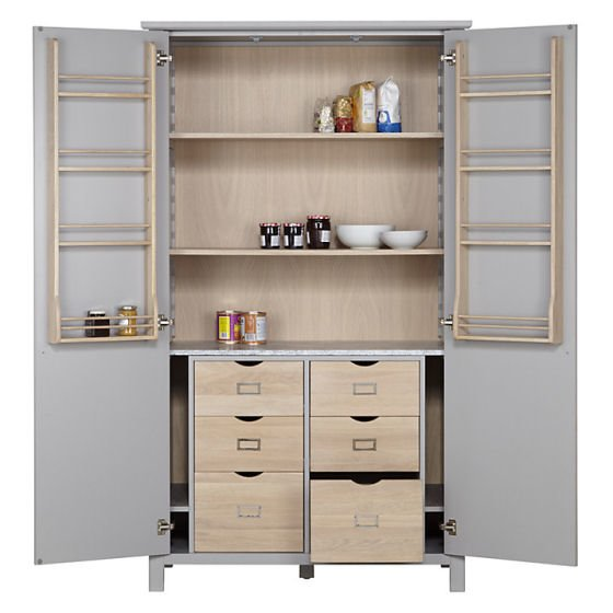 John Lewis Croft Collection Montrose Larder Unit with open doors showing oak storage shelves and drawers