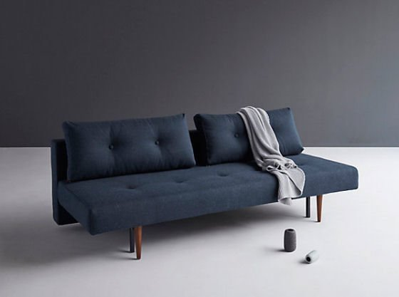 Dark blue John Lewis Recast Sofa Bed with grey blanket