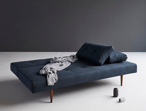 John Lewis Sofa Bed by Innovation in dark blue with dark wood legs
