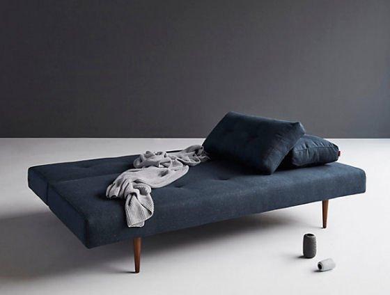 John Lewis Sofa Bed by Innovation in dark blue with dark wood legs