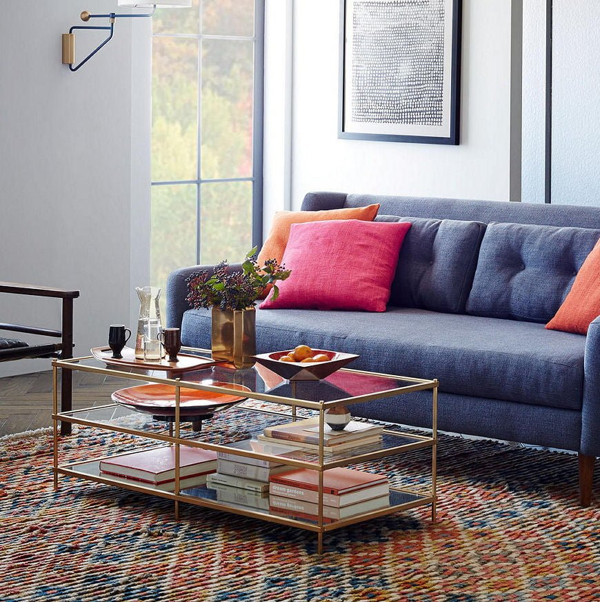Terrace glass coffee table for small spaces by West Elm